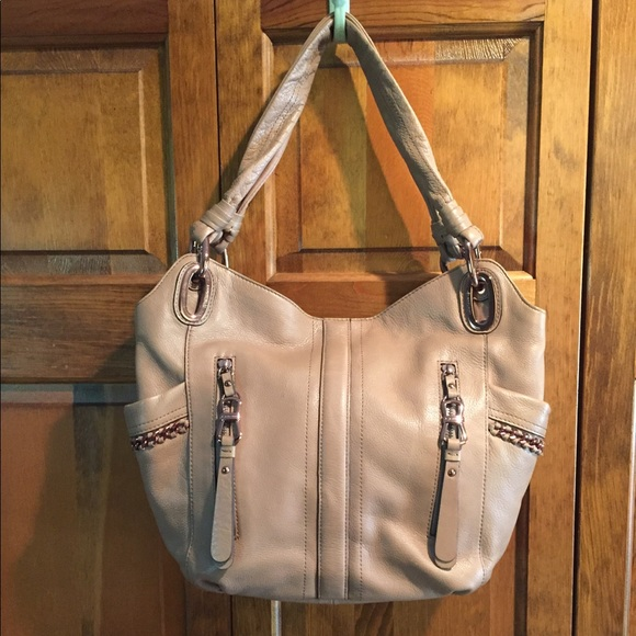 B Makowsky Taupe Leather Triple Compartment Bag